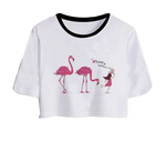 t-shirt crop top flamant rose tendance message humour