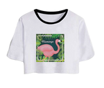 t-shirt court nombril ventre fille flamant rose