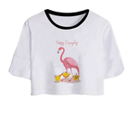 t-shirt crop top flamant rose bébé mode