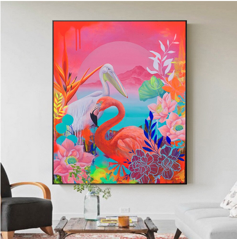 tableau flamant rose tres colore