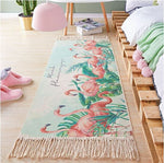 tapis chambre flamant rose lin tisse