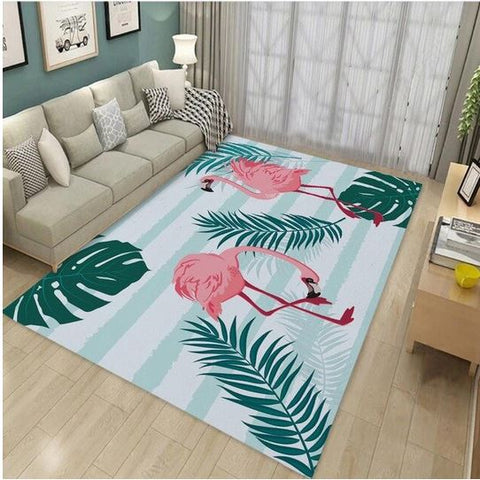tapis flamant rose rectangulaire