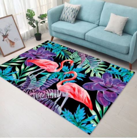 tapis flamant rose fantaisie colore
