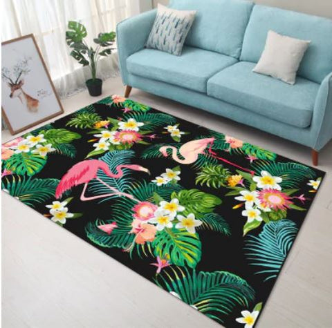 tapis flamant rose exotique
