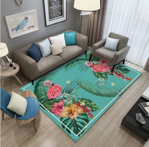 tapis flamant rose rectangulaire tendance tropical