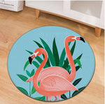 tapis flamant rose rond dessin