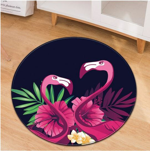 tapis rond flamant rose motif tropical