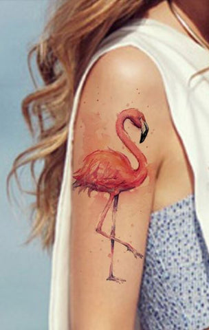 Tatouage Flamant Rose Aquarelle