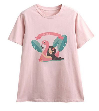 tee shirt flamant rose femme tahitienne hawaienne
