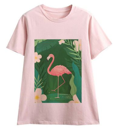 tee-shirt flamant rose pour femme fille ado chic