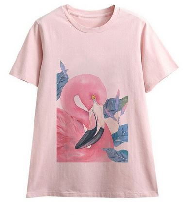 tee-shirt flamant rose fille femme selfie bff