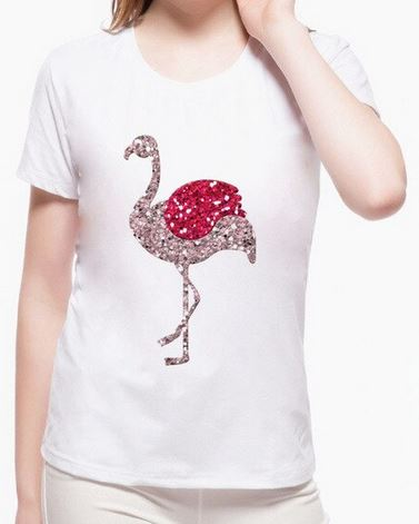 tee shirt flamant rose paillettes