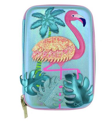 trousse flamant rose tendance brillante