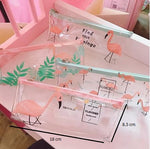 Trousse Transparente Flamant Rose Duo
