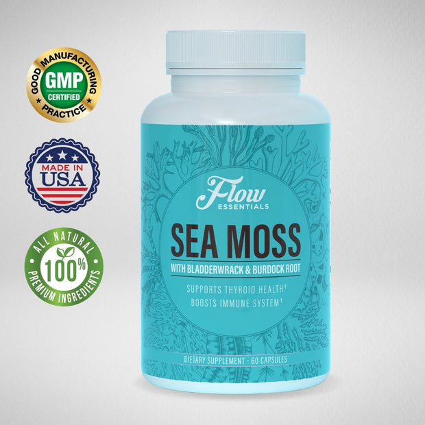 Sea Moss Prime Capsules- Organic Sea Moss, Burdock Root Capsules, and Bladderwrack - FLOW Essentials