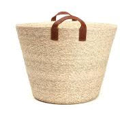 Conical Floor Basket with Leather Handles