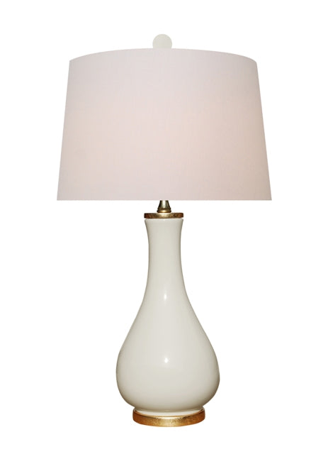 Dove White Table Lamp with gold base