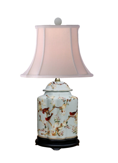 Grey Tea Jar lamp with Bird Motif
