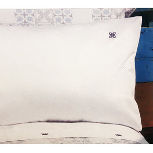Lia White Flat Sheet, with Navy Logo