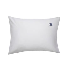 Load image into Gallery viewer, Lia White Pillowcase Pair, with Navy Logo