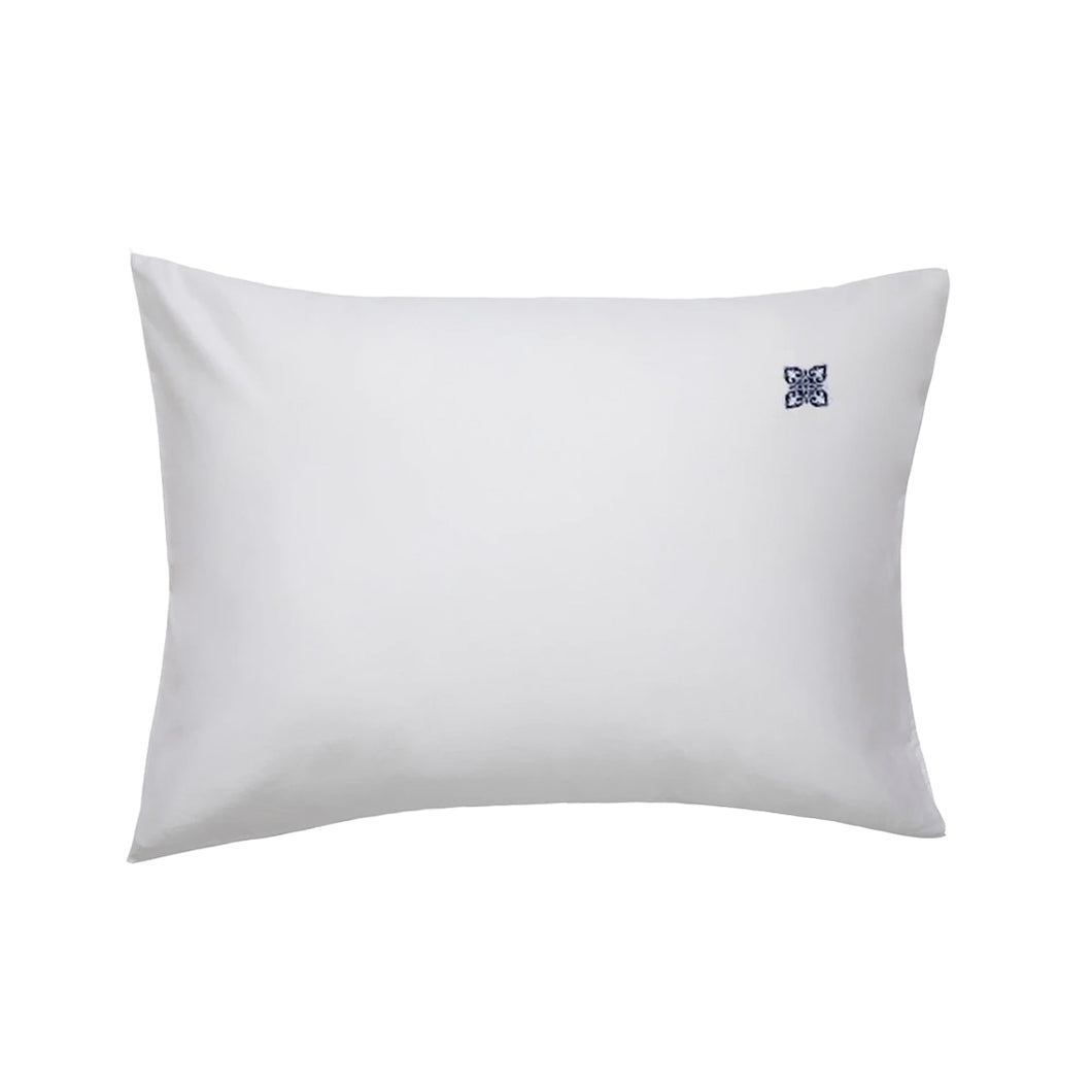 Lia White Pillowcase Pair, with Navy Logo