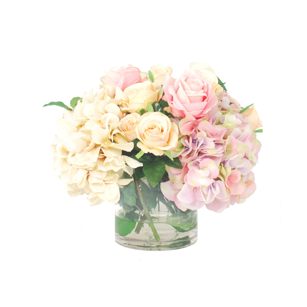 Pink and Cream Hydrangeas with Roses