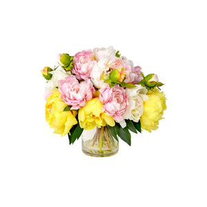 Pink, Yellow and White Peonies in Glass Vase