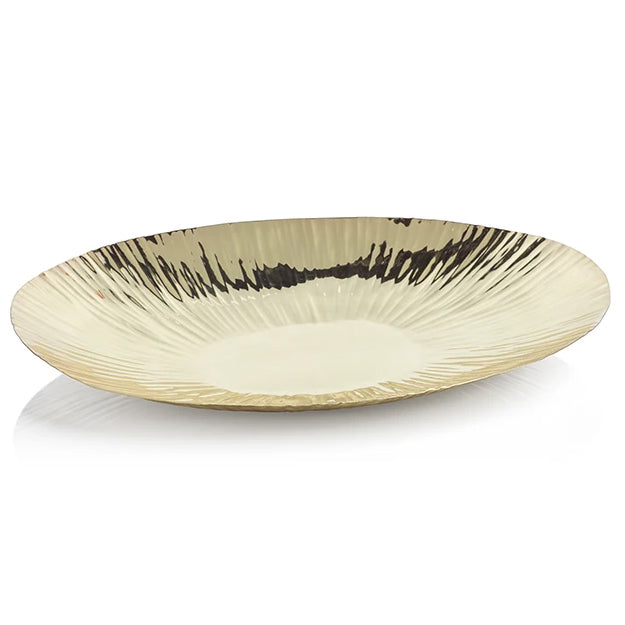 Rippled Gold Oval Tray