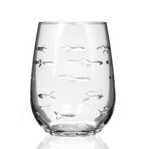 Stemless Wine Glass Tumbler, School of Fish