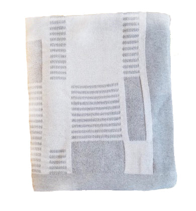 Sandra Knit Throw - grey and ivory