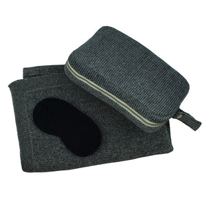 Travel Blanket Set - Black Grain