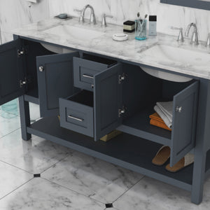 "Wilmington 60"" Double Vanity, Grey"