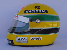 "Load image into Gallery viewer, Ayrton Senna 1990 Replica ""RHEOS"" Helmet"