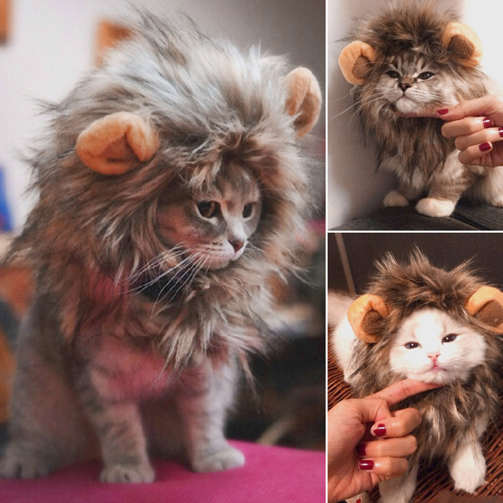 Funny Cute Pet Cat Costume Lion Mane Wig