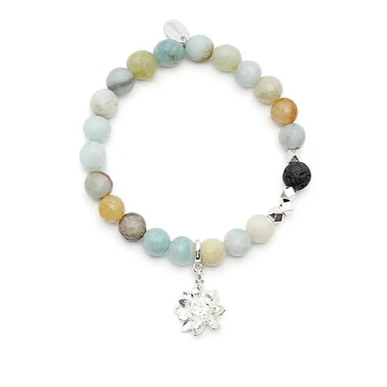 Diffuser Bracelet - Amazonite with Lotus Charm