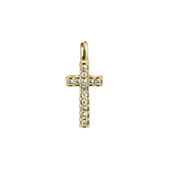 Crystal Cross Charm Gold