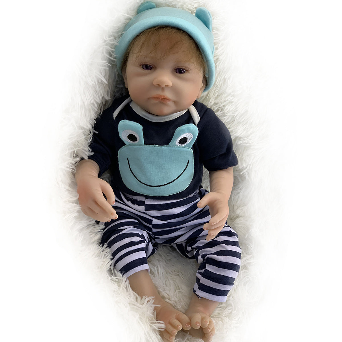 "🔥Limitied Time🔥20"" Acestar Reborn Baby Doll-Cyan Striped Frog"