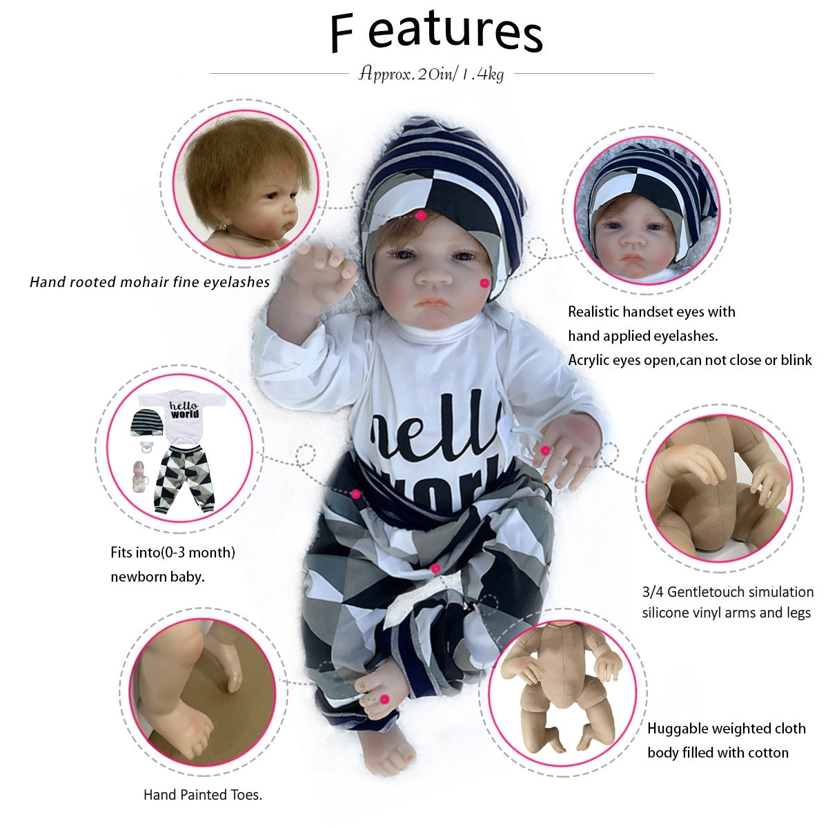 "20"" Adolly Reborn Baby Doll Cute Name Sheila - Adolly's Shop"