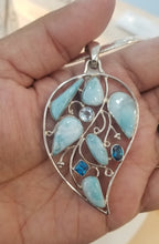 Load image into Gallery viewer, Larimar & Topaz Leaf pendant
