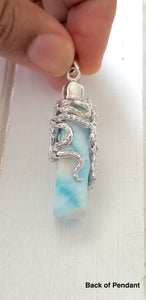 Octopus and Larimar Bar Necklace