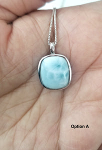 Cushion cut Larimar Pendant