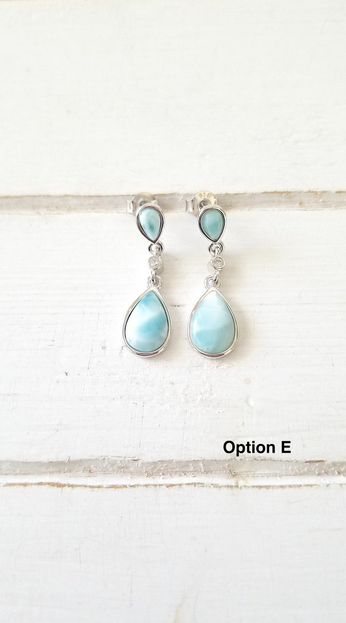 Teardrop Cz and Larimar Earrings
