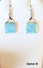 Load image into Gallery viewer, Dangling Square Larimar Earrings