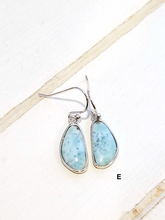 Load image into Gallery viewer, Free form Larimar earrings