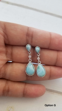 Load image into Gallery viewer, Teardrop Cz and Larimar Earrings