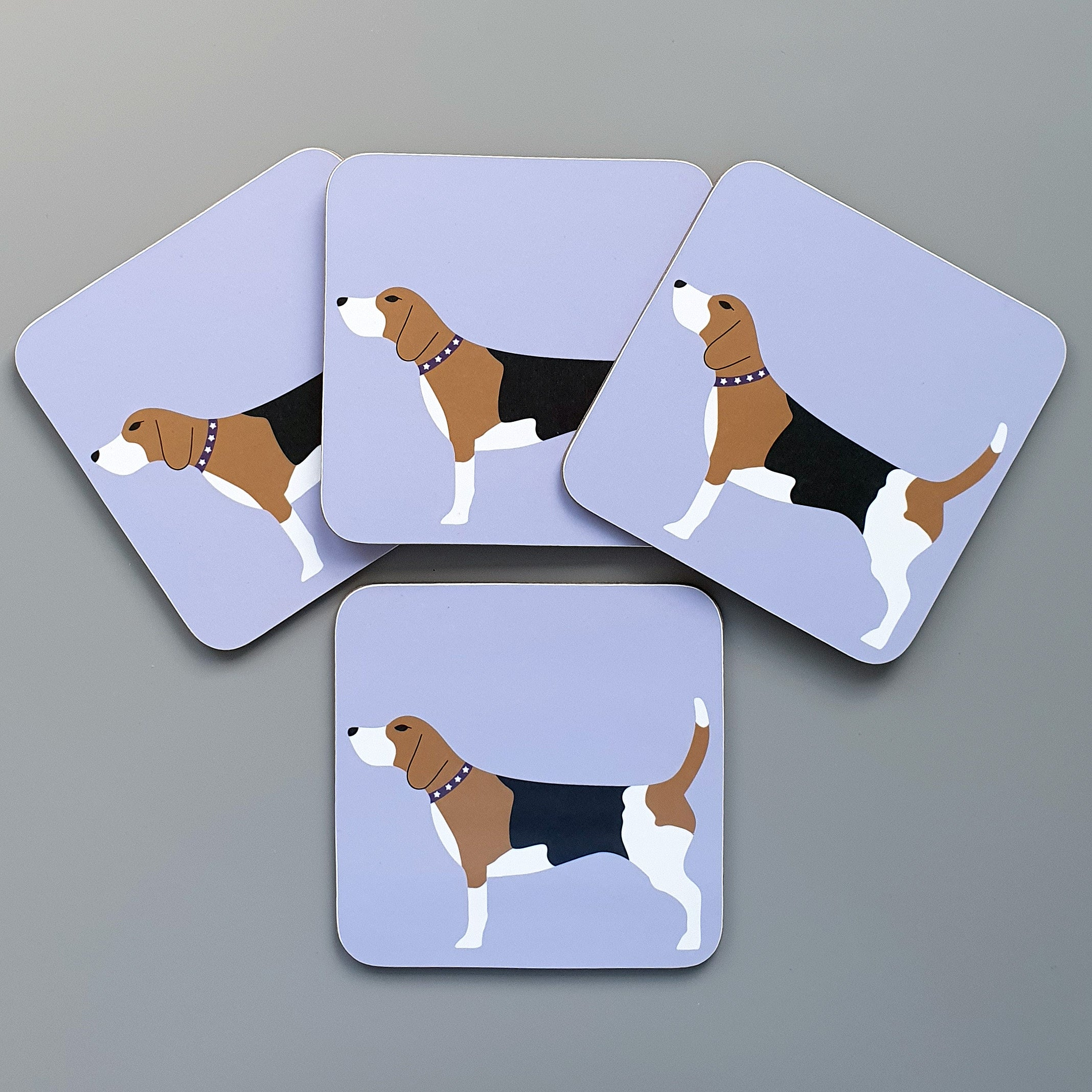Beagle coasters set of 4