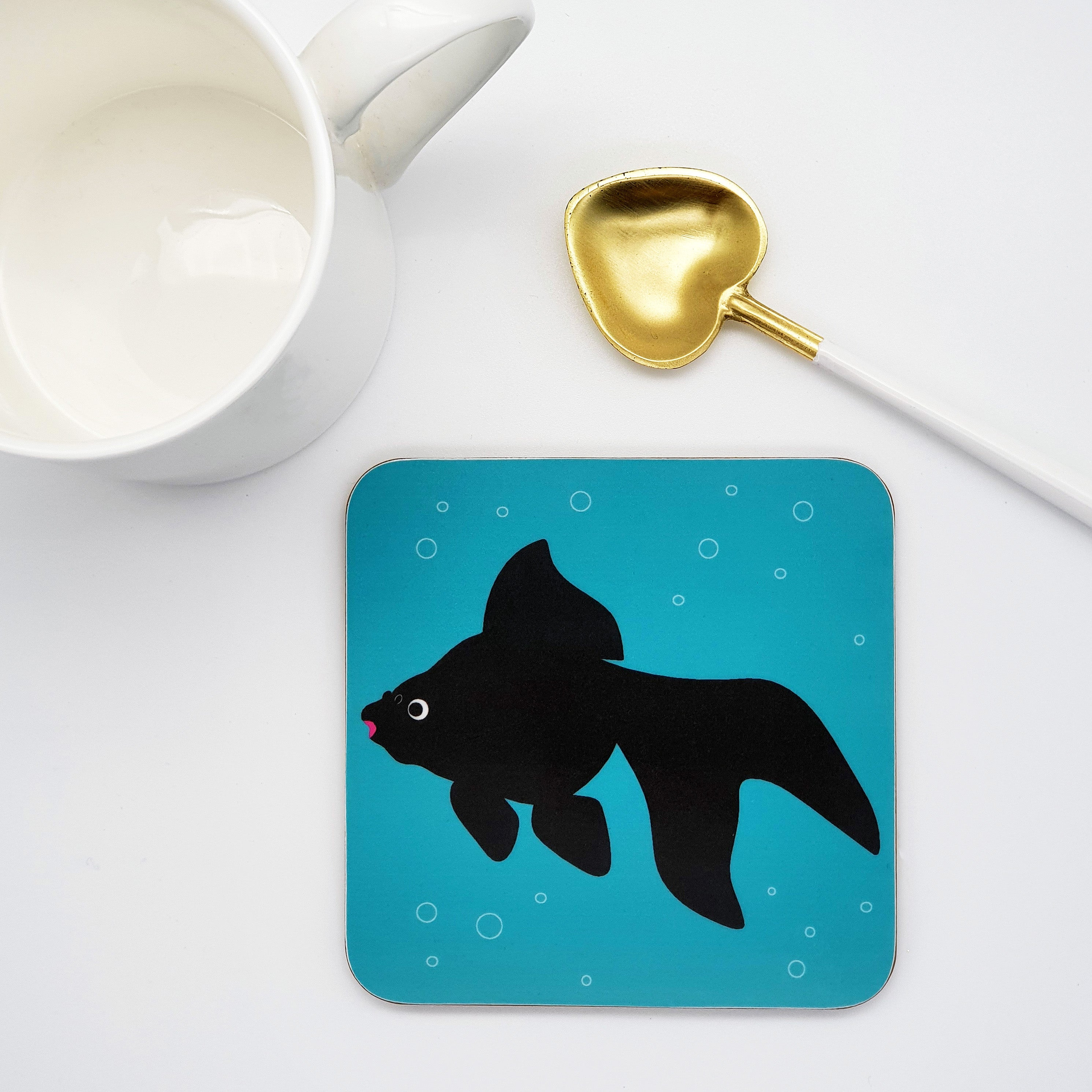 Black Fancy Goldfish Coaster