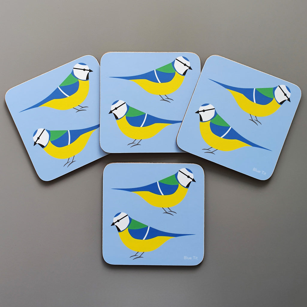 Set of 4 Blue Tit coasters
