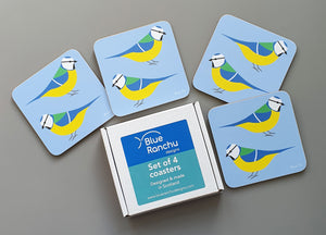 Set of 4 Blue Tit coasters in cardboard gift box