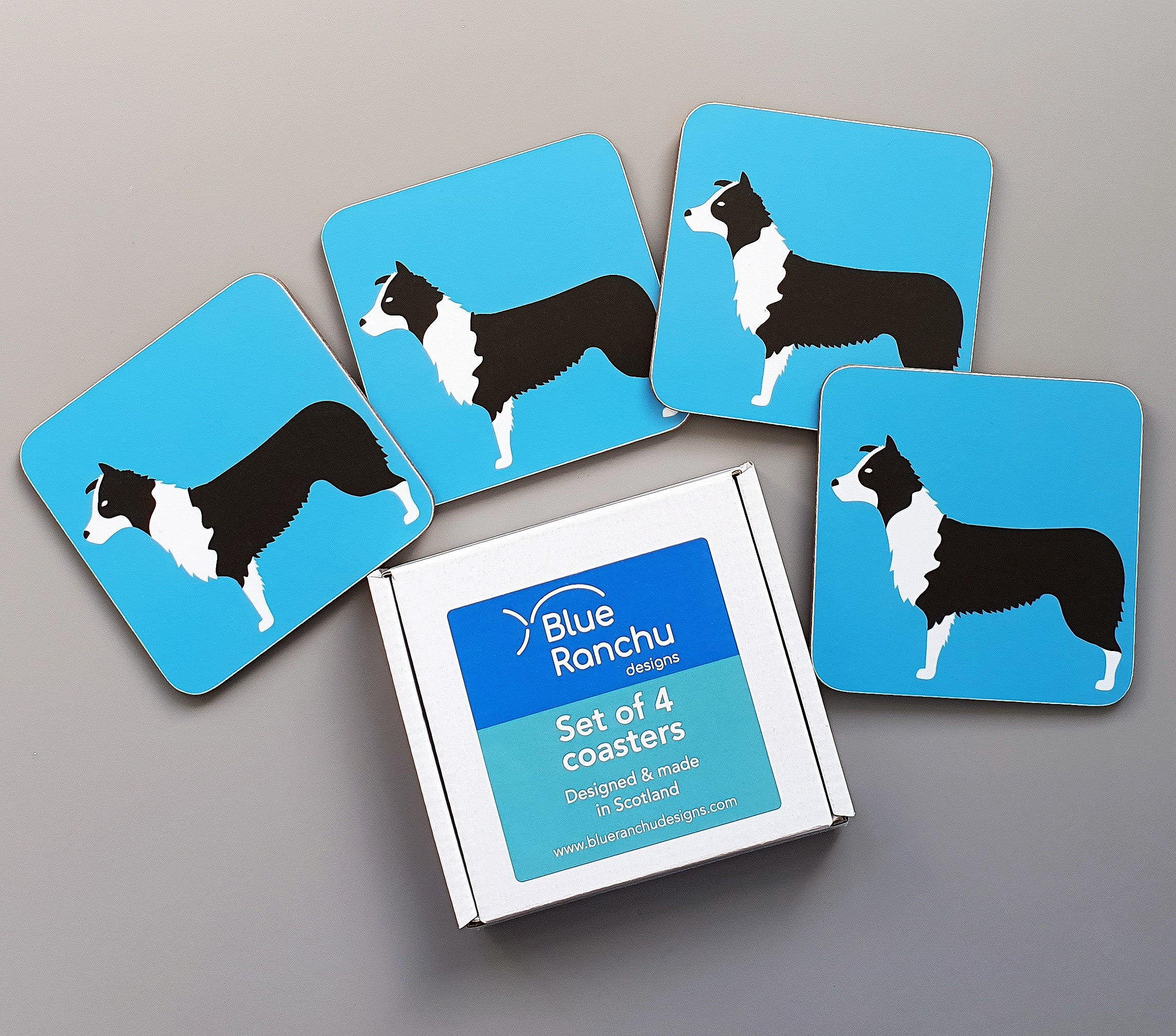 Border Collie coaster set in cardboard gift box